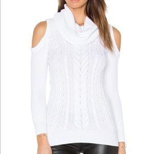 Haute Hippie Cold Shoulder Cowl Neck Sweater